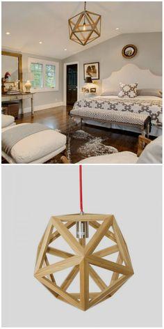 Modern Style Polyhedron Shape Wooden Pendant