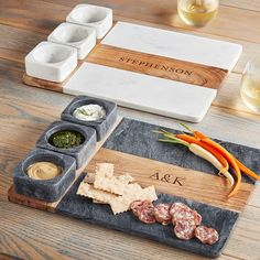 The perfect way to serve your favorite appetizers, this set includes three beautifully handcrafted marble bowls nestled into a solid acacia wood and marble serving platter. Add an engraved monogram for a beautiful housewarming or host gift. Marble Cheese Board, Marble Board, Condiment Sets, Carving Board, Mark And Graham, Wood Tray, Clean Eating Snacks, A Table, Appetizers