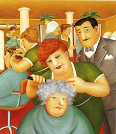 "Beryl Cook (British, 1926–2008)  ""Hairdressing Salon"".......@@@@......http://www.pinterest.com/joycegale/beryl-cook/"