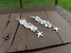 Crystal Quartz Earrings  Starfish Earrings  by PeerlessTreasures