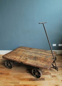 "1800's Industrial Train Yard Trolley Cart. this woud be easy to make, 5 1"" boards distress and stain add casters and pully this would look great in my living room as a plant stand."