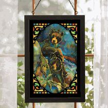 Bear Cubs Stained Glass Wall Art
