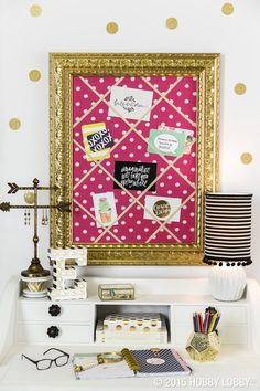 Make your dorm room glamorous with clean patterns, bright colors, and gold accents!