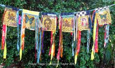 Prayer Flags by Constance taylor Fabric Art, Fabric Crafts, Scrap Fabric, Bunting Banner, Buntings, Banners, Flag Garland, Peace Flag, Prayer Stations