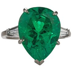 6.82 Carat GIA Cert Emerald Diamond Platinum Cocktail Ring | See more rare vintage Cocktail Rings at https://www.1stdibs.com/jewelry/rings/cocktail-rings