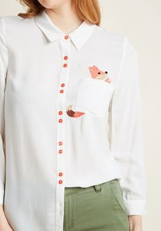 Button-Up Top with Pocket Fox Embroidery in - Button Down Waist by ModCloth Embroidery On Clothes, Shirt Embroidery, Embroidered Clothes, Embroidery Fashion, Hand Embroidery Designs, Diy Fashion, Fashion Dresses, New Arrival Dress, Creation Couture