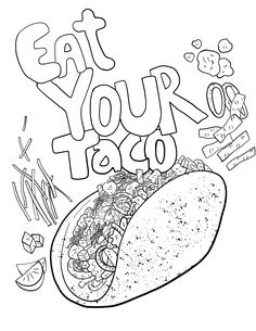 Coloring For Kids, Adult Coloring Pages, Coloring Sheets, Coloring Books, Taco Crafts, To Color, Animal Drawings, As You Like
