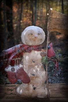 Primitive Grungy Snowman DOll With Mittens & Cardinal Epattern