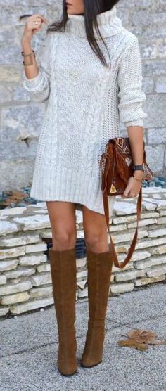 #fall #outfits / turtleneck knit dress