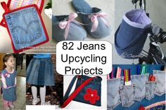 Best Ideas for Upcycling Jeans - 82 projects!~ including every upcycled jeans… Diy Jeans, Jean Crafts, Denim Crafts, Use E Abuse, Diy Clothes Refashion, Diy Clothes Videos, Denim Ideas, Recycled Denim, Upcycle