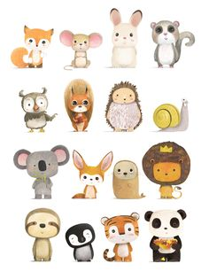 Dibujos animales illustration of animals petit monkey poster wild animals 50 x 70 cm illustration art design wildlife tropical elephant tiger cheetah toucan Illustration Mignonne, Cute Illustration, Character Illustration, Squirrel Illustration, Digital Illustration, Animal Doodles, Drawing Base, Easy Drawings, Cute Animals