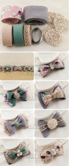 "diy_crafts-发饰 ""Old fashioned lace bows"", ""Discover thousands of images about Hair bow Mais"" Hair Ribbons, Diy Hair Bows, Ribbon Hair, Diy Ribbon, Ribbon Crafts, Ribbon Bows, Ribbon Decorations, Barrettes, Hairbows"