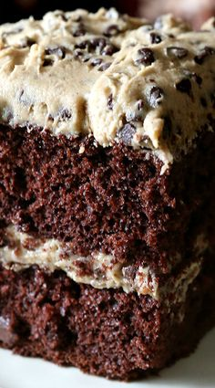 Cookie Dough Frosted Chocolate Cake ~ This cake is a total indulgence and totally worth it. I mean, it's dark chocolate cake topped with a homemade cookie dough frosting.