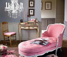 French style, crystal chandelier & a pink chaise... what more could a girl want? via eclecticrevisited.com