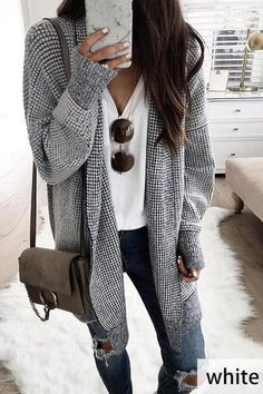 Stand Collar Long Sleeve Plaid Cardigan