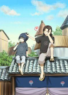 Naruto » Fanart + <3 | Sasuke and Itachi in Konoha eating dango | #itachi #sasuke