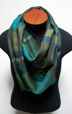 Handwoven Green Striped Infinity Scarf by eacrisman on Etsy, $98.00