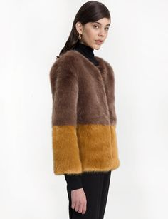 Two Tone Brown Faux Fur Jacket 100% faux fur Fully lined Length 25