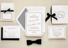 formal invitations bows gold