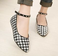 Aliexpress.com : Buy belt buckle pointed toe new 2014 ladies fashion rivets ankle strap flats for women shoes woman girls spring autumn GD14...