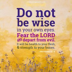 Do not be wise in your own eyes. Fear the LORD and depart from evil. It will be health to your flesh, and strength to your bones. Scripture Pictures, Scripture Verses, Bible Verses Quotes, Bible Scriptures, Faith Quotes, Healing Scriptures, Healing Quotes, Heart Quotes, Book Of Proverbs