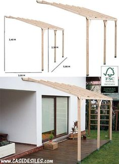 Wooden terrace shelter with back structure 3050 - - Haus und heim - Terrasse Diy Pergola, Pergola Canopy, Outdoor Pergola, Pergola Lighting, Cheap Pergola, Wooden Pergola, Pergola Shade, Diy Patio, Backyard Patio
