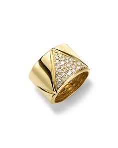 P7768 Marina B 18K Yellow Gold Triangoli Diamond Ring