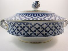 Vintage Sampson and Sons Covered Vegetable Serving Dish with Lid Flow Blue Chantilly Bird Pattern Coronaware