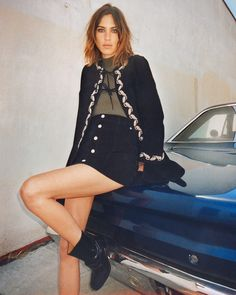 Alexa Chung for AG The Walker Embroidered Suede Jacket and skirt.