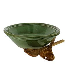 This Cilantro Green Serving Bowl & Olive Wood Servers Set is perfect! #zulilyfinds