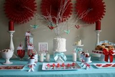 Aqua and Red color scheme for Little Mermaid baby shower