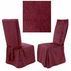 Chenille Raspberry dining chair cover features all time favorite soft to the touch solid chenille. This incredibly rich slipcover works with any decorating styles and other solids, floral and stripes. Soft to the touch, yet extremely durable