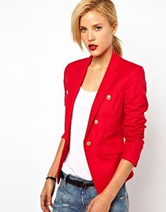 red blazer, nice blazer for teens. You can dress modest and look Great! Have a Fashion show and Devotion for your Teen girls!