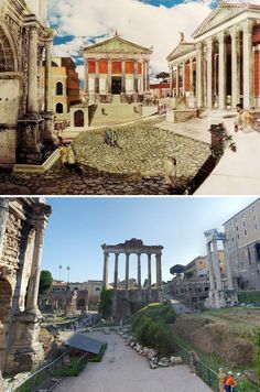 What Ancient Roman Ruins Looked Like In the Past Ancient Ruins, Ancient Rome, Ancient Greece, Ancient History, Architecture Antique, Roman Architecture, Historical Architecture, Course De Chars, Chateau Saint Ange