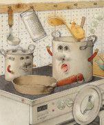Food Drawings - Kitchen by Kestutis Kasparavicius
