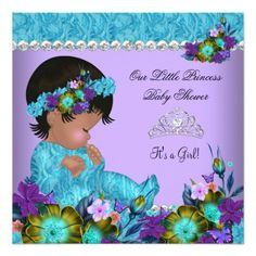 "African American Princess Baby Shower Cute Girl Teal Blue Purple Floral, Floral Lace, Diamond Tiara Crown Little Princess ""it's a girl"" Party Invitation. Elegant Events for Women, Party Invites for all ages, just customize."