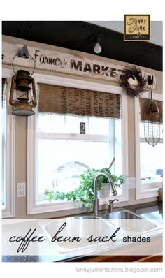 Introducing my rustic little faux window shades that are perfect for adding a little warmth to a window in a junk styled way.  Great for windows where you desire the sun to shine right in and dont require privacy.