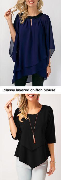 layered blouse, chiffon blouse #liligal #blouse #shirts #top #womenswear #womensfashion