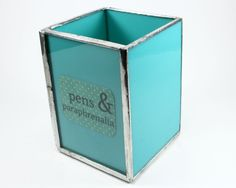 Turquoise Glass Pencil Holder, Desk Organizer, Cubicle Accessory, Blue Pencil Cup Desk Accessory, Office Decor, Desktop Pencil Organizer