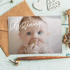 Order a printed sample of your personalised design Baptism Invitation For Boys, Christening Invitations Girl, Communion Invitations, Birthday Invitations, Christening Photos, Baptism Photos, Baptism Ideas, Photo Invitations, Invitation Design