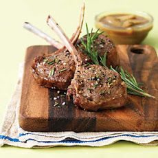 Lamb Chops with Pear & Balsamic Pan Sauce Recipe Main Dishes with lamb loin chops, fine sea salt, ground black pepper, unsweetened apple juice, low sodium beef broth, balsamic vinegar, pears, fresh rosemary