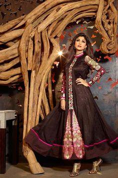 Gorgeous Shilpa Shetty Georgette Black Long Anarkali Suit