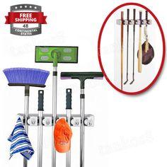 Track-Organizer-Storage-Wall-Hanging-Hooks-Garage-Tools-Holder-Broom-System-New