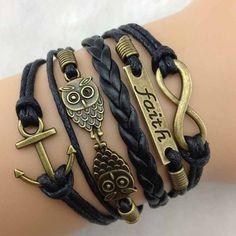 Love these new style bracelets. NEW Black Anchor Owl Faith Infinity Bracelet, Multi Wrap Bracelet, Black Leather Bracelet Cute Bracelets, Braided Bracelets, Bracelets For Men, Wrap Bracelets, Jewelry Bracelets, Black Bracelets, Infinity Bracelets, Jewlery, Infinity Jewelry