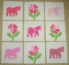 Set of 9  Pink Pony Horse and Flower Quilt  Blocks. $11.95, via Etsy.