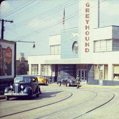 1941 view of Atlanta's Greyhound Bus terminal on Cain Street.  Courtesy-Atlanta History Center.