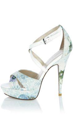 4119f45be2dc Karen Millen Print Coord Sandals in Blue (multi-coloured)