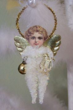 Angel Vintage Style Chenille Feather Tree Ornament by TreePets