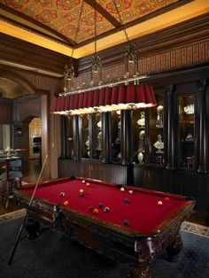 Home Design and Decor , Classic Billiard Design Room : Billiard Design Room With Red Wooden Pool Table And Lighting And Built In Display Cabinets