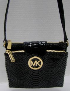 MICHAEL KORS SMALL BLACK LEATHER PYTHON SNAKE PRINT CROSSBODY BRASS MSRP   188  MichaelKors  MessengerCrossBody 5e8a3d90cdab0